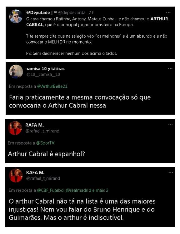 Numa rede social, torcedores reclamaram da não convocação de Arthur Cabral